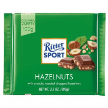 Ritter Sport Chopped Hazelnuts In Milk Chocolate 100g